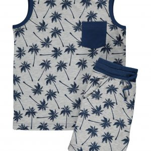 2 Grey Palm Print Vest and Shorts Outfit from 7 at George